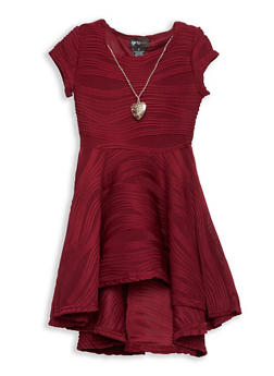 Girls 4-6x Textured Knit Skater Dress with Necklace - 1614051060092