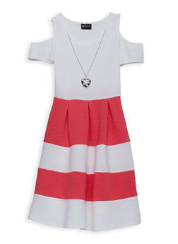 Girls 4-6x Color Block Skater Dress with Necklace - 1614051060101