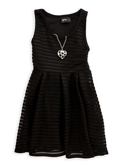 Girls 4-6x Shadow Stripe Skater Dress with Necklace - 1614051060106