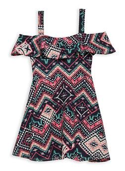Girls 4-6x Aztec Print Off the Shoulder Dress - 1614051060129