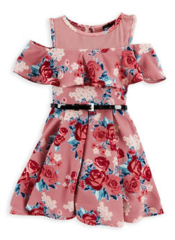 Girls 4-6x Belted Floral Cold Shoulder Dress - 1614051060130