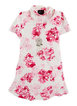 Girls 4-6x Soft Knit Floral Dress with Necklace - 1614051060143