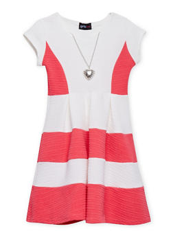 Girls 4-6x Color Block Skater Dress with Heart Necklace - 1614051060878