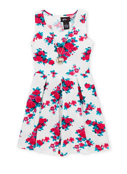 Girls 4-6x Floral Skater Dress with Necklace - 1614051060881