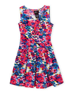 Girls 4-6x Floral Skater Dress with Necklace - BLUE - 1614051060881
