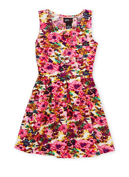 Girls 4-6x Floral Skater Dress with Necklace - MULTI COLOR - 1614051060881