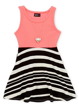 Girls 4-6x Half Striped Skater Dress with Necklace - 1614051060886