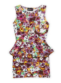 Girls 4-6x Sleeveless Printed Peplum Dress with Necklace - 1614051060891