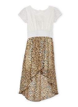 Girls 4-6x Leopard Print High Low Dress with Mesh Crochet Top Detail - 1614054730003