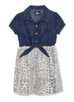 Girls 4-6x Leopard Lined Chambray Dress - 1614054730005