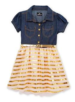Girls 4-6x Belted Denim Dress with Chiffon Metallic Stripe Skirt - 1614054730007