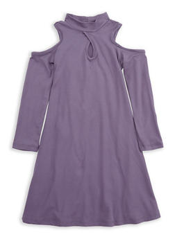 Girls 4-6x Purple Cold Shoulder Dress - 1614060580018