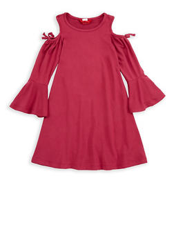 Girls 4-6x Bell Sleeve Cold Shoulder Dress - 1614060580022
