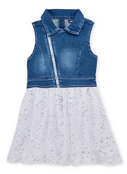 Girls 4-6x Limited Too Moto Denim Eyelet Dress - 1614060990001