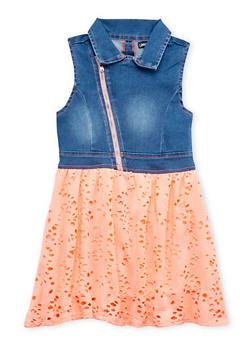 Girls 4-6x Limited Too Moto Denim Eyelet Dress - 1614060990002