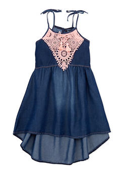 Girls 4-6x Limited Too Sleeveless Denim Dress with Crochet Trim - 1614060990003