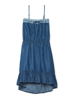 Girls 4-6X Denim Dress with Crochet Trim Neckline - 1614060990004