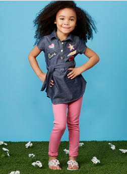 Girls 4-6x Chambray Button Up Dress with Patches - 1614061950001