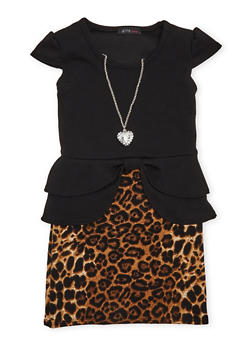 Girls 4-6x Peplum Dress with Leopard Print Skirt and Necklace - 1614066590111