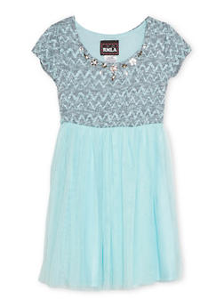 Girls 7-14 Jeweled Knit Dress with Tulle Skirt - 1615021280001
