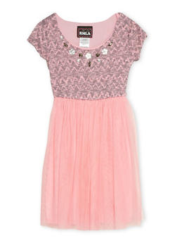 Girls 7-14 Jeweled Knit Dress with Tulle Skirt - 1615021280002