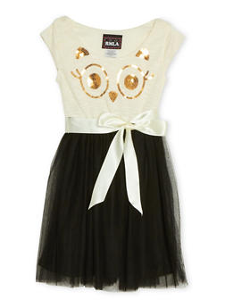 Girls 7-14 Knit Dress with Tulle Skirt and Sequins - 1615021280004