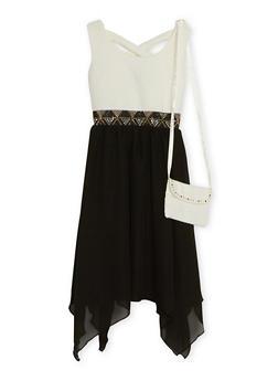 Girls 7-14 Sleeveless Dress with Chiffon Skirt and Purse - 1615021280006