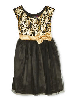 Girls 7-14 Sleeveless Dress with Sequins and Mesh - 1615021280008