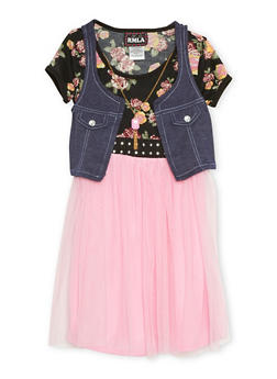 Girls 7-14 Dress with Attached Vest and Faux Necklace - 1615021280010
