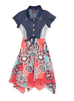 Girls 7-14 Denim and Printed Dress with Tie Waist - 1615021280012