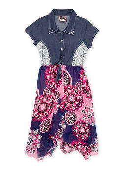 Girls 7-14 Denim and Printed Dress with Tie Waist - 1615021280013