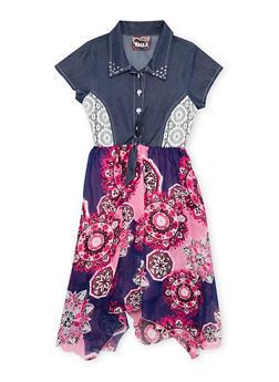 Girls 7-14 Denim and Printed Dress with Tie Waist - 1615021280013