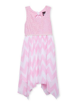 Girls 7-16 Lace Dress with Chevron Skirt and Pearl Trim - 1615021280014