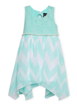 Girls 7-14 Sleeveless Lace Dress with Chevron Skirt - GREEN PTN - 1615021280015