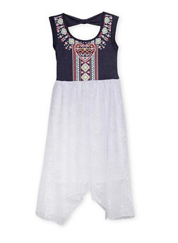 Girls 7-14 Knit Denim Dress with Printed Bodice and Lace Skirt - 1615021280017