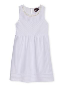 Girls 7-16 Sleeveless Texture Knit Jewel Trim Skater Dress - 1615021280021