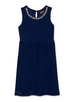 Girls 7-16 Sleeveless Textuered Knit Lazer Cutout Trim Skater Dress - 1615021280024