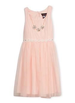 Girls 7-14 Sleeveless Daisy Trim Dress with Matching Necklace - 1615021280026