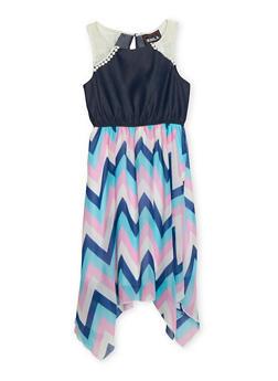 Girls 7-16 Sleeveless Chambray Yoke Dress with Chevron Print Chiffon Skirt - 1615021280031