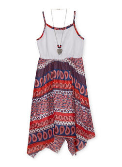 Girls 7-16 Crochet Yoke Paisley Print Dress with Necklace - 1615021280032