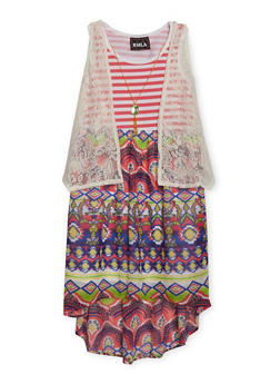 Girls 7-14 Multi Print Dress with Lace Vest and Necklace - 1615021280033