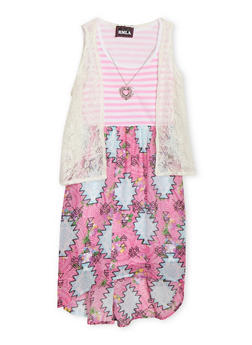 Girls 7-16 Sleeveless Mix Print Dress With Lace Vest and Necklace - 1615021280034