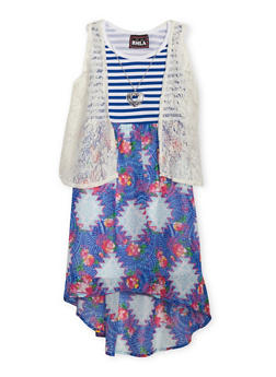 Girls 7-16 Sleeveless Mix Print Dress With Lace Vest and Necklace - COBALT - 1615021280034