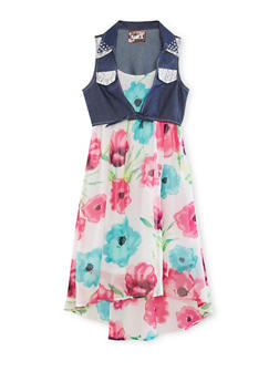 Girls 7-16 Sleeveless Floral Dress with Denim Overlay - 1615021280036