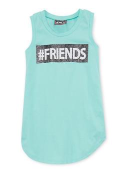 Girls 7-16 Friends Graphic HashtagTank Dress - 1615021280039
