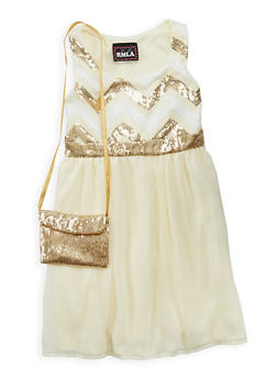 Girls 7-16 Sequined Skater Dress with Matching Purse - 1615021280049