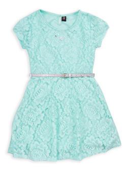 Girls 7-16 Lace Belted Skater Dress - 1615023130009