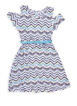Girls 7-16 Chevron Print Cold Shoulder Skater Dress - 1615023130012