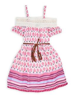 Girls 7-16 Printed Cold Shoulder Dress with Belt - 1615023130013