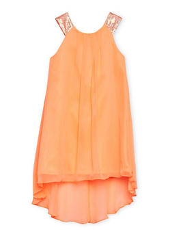 Girls 7-14 Dress with Sequined Straps - 1615023260026